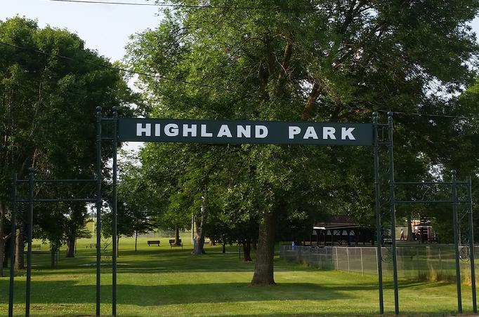 Refurbished Park Sign thanks to Todd Hebgen (wood & sign trim) and Dennis & Gail Richgels (metal fence refurbishing, sign lettering & paint supplies)